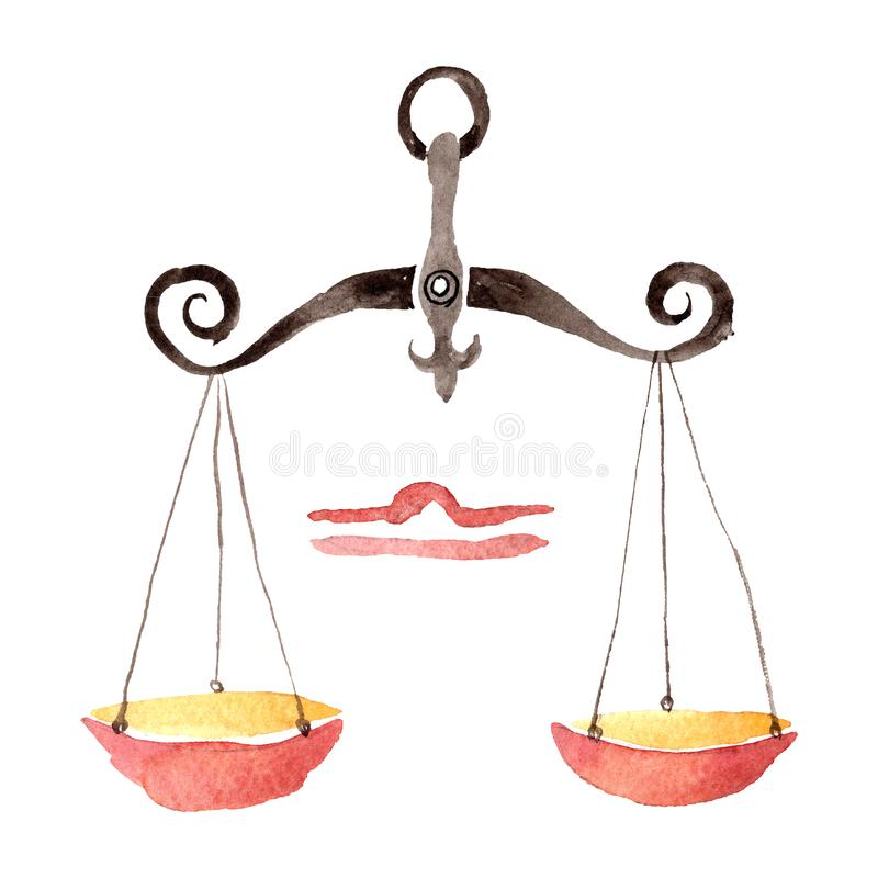 Libra zodiaka znak, astrologia symbol Akwareli t?a ilustracji set Odosobniony horoskop ilustracji element ilustracji