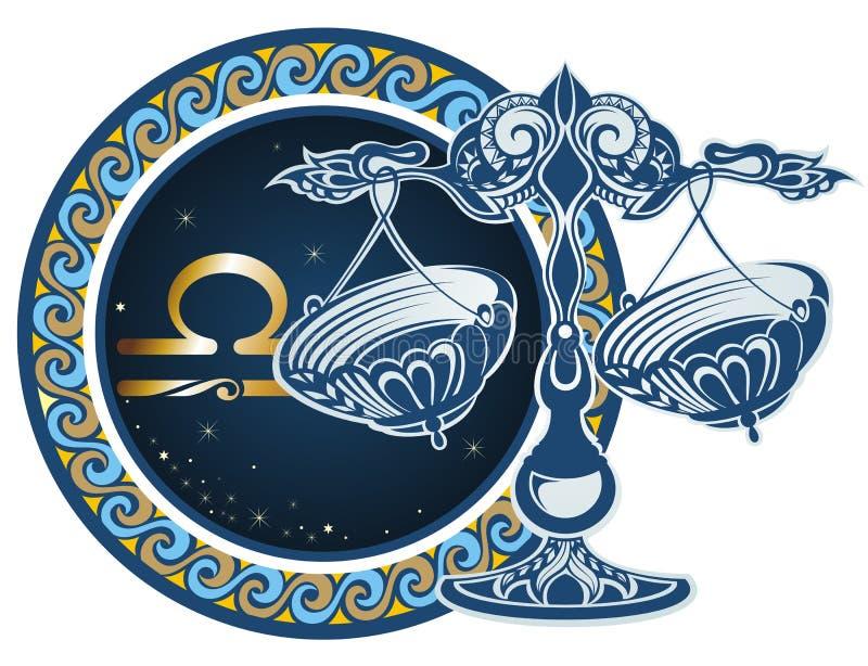 libraen undertecknar zodiac royaltyfri illustrationer