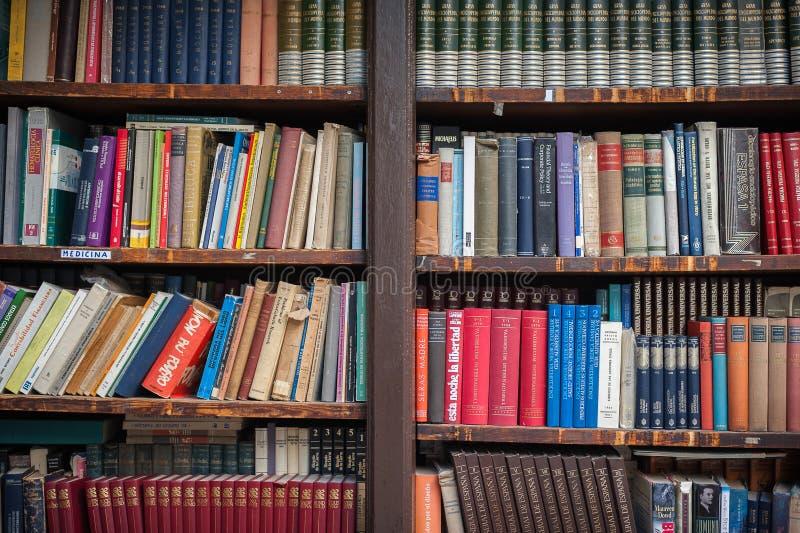 Librairie en bois antique avec des livres de littérature dans différentes couleurs image stock
