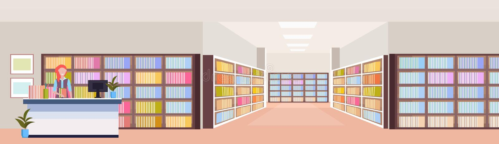 Librarian woman at reception desk modern library interior bookshelves room bookcase with books reading education. Knowledge concept flat horizontal vector stock illustration