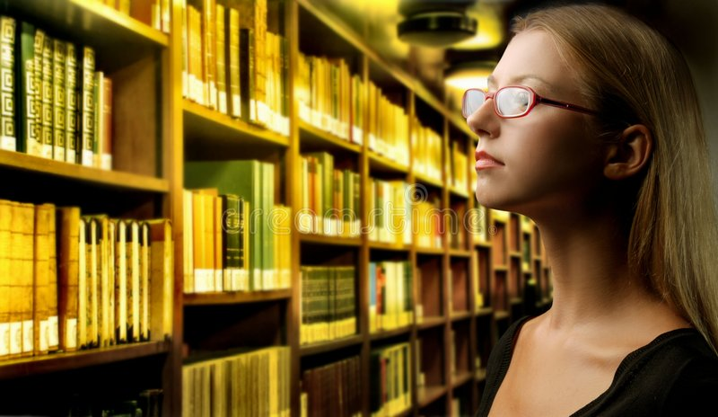Download Library stock image. Image of profile, woman, glasses - 6389943