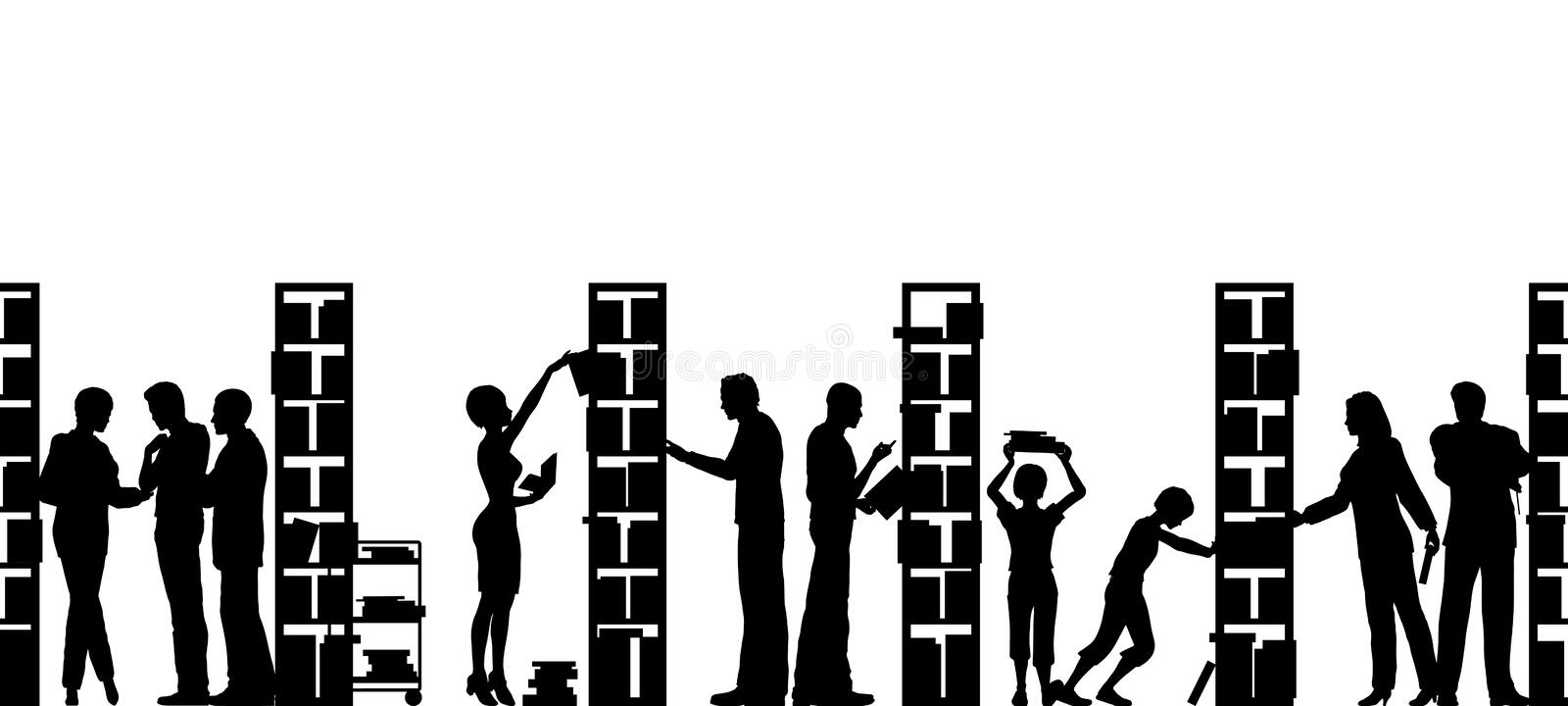 Library. Editable vector silhouette of people in a library with all elements as separate objects