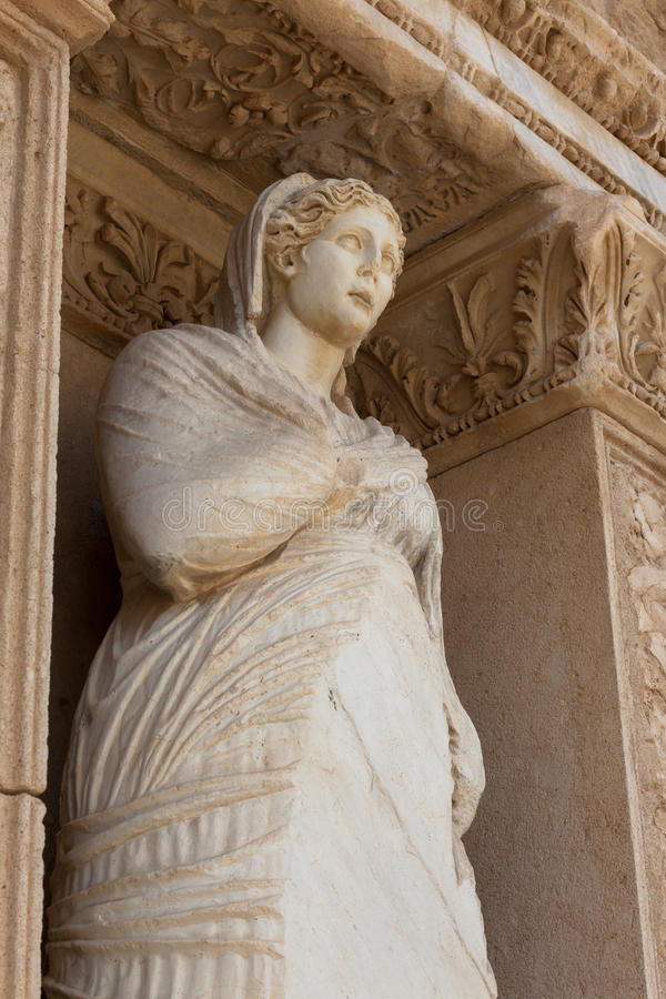Library , Arete at Ephesus. The library of Celsus is an ancient Roman building in Ephesus, with Arete statue personification of virtue royalty free stock images