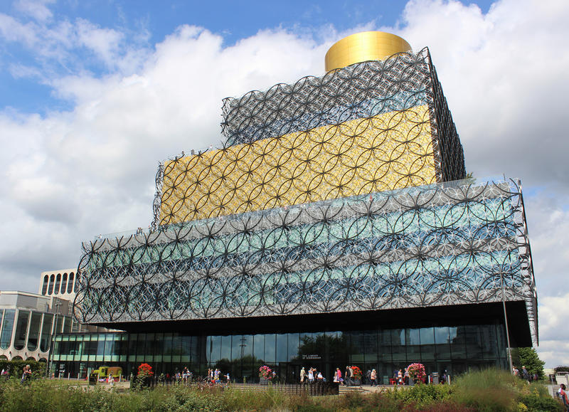 Library of Birmingham, West Midlands, England. New public library known as Library of Birmingham, West Midlands, England. It was opened in 2013 and designed by royalty free stock photos