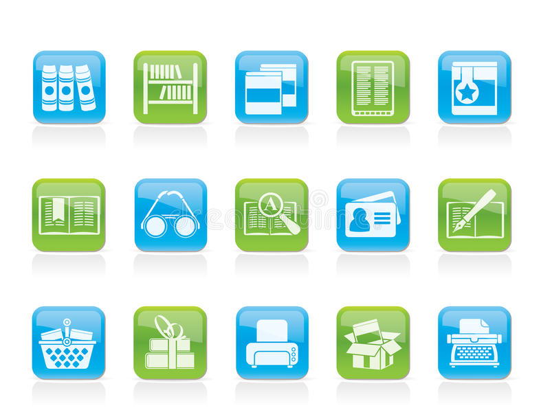 Library and books Icons stock illustration