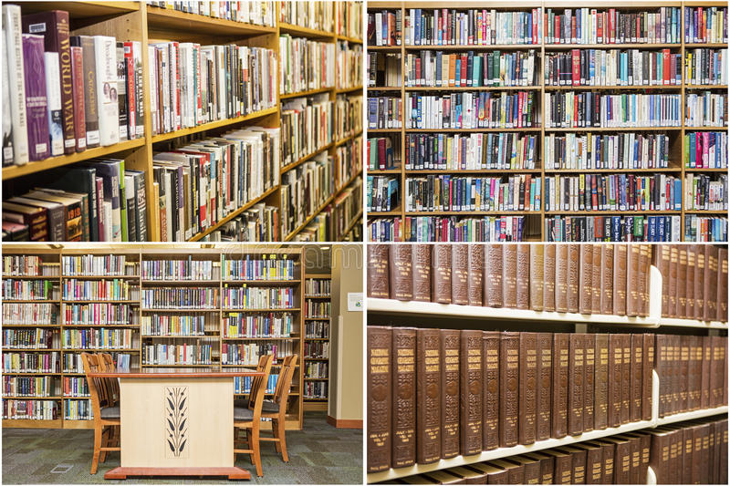 Library books shelves education school desk collage royalty free stock photo
