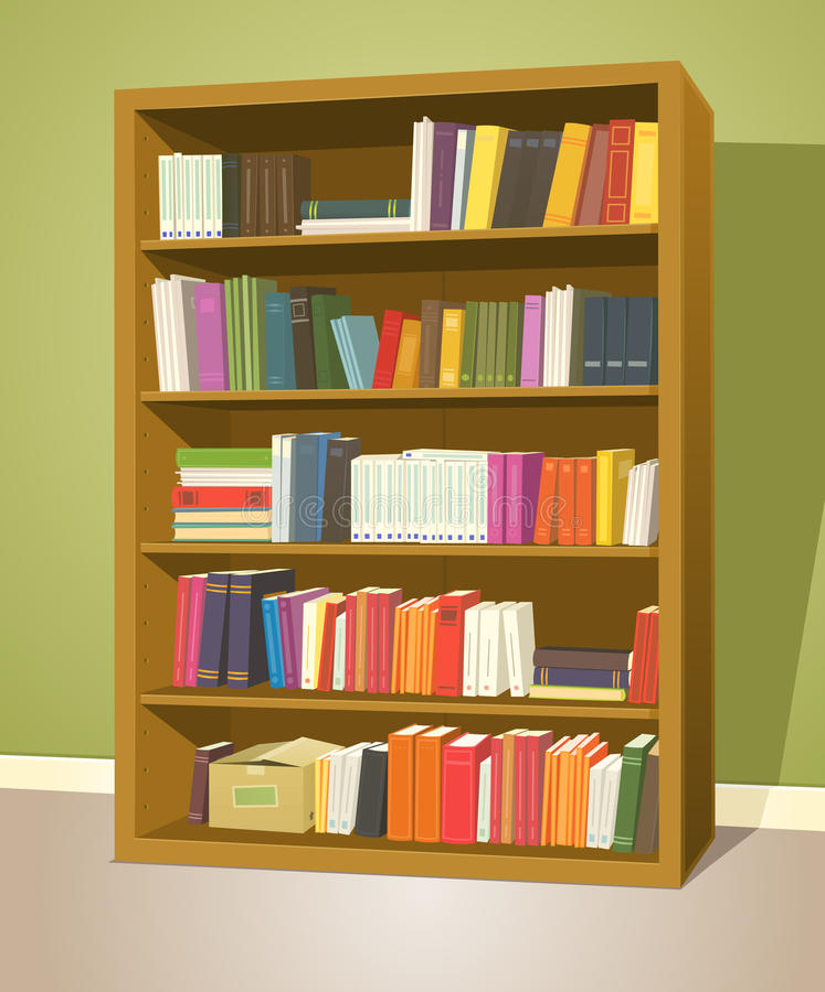 Download Library Bookshelf stock vector Illustration of