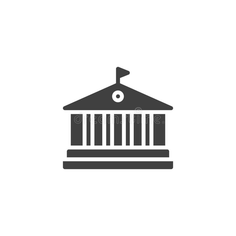 Library building vector icon. Filled flat sign for mobile concept and web design. Abstract architecture building with columns glyph icon. Symbol, logo vector illustration