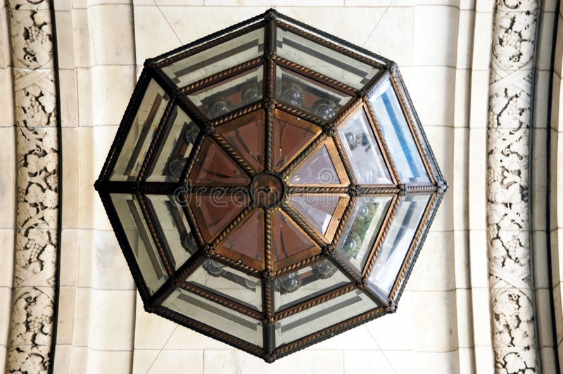 Library ceiling and chandelier royalty free stock photography