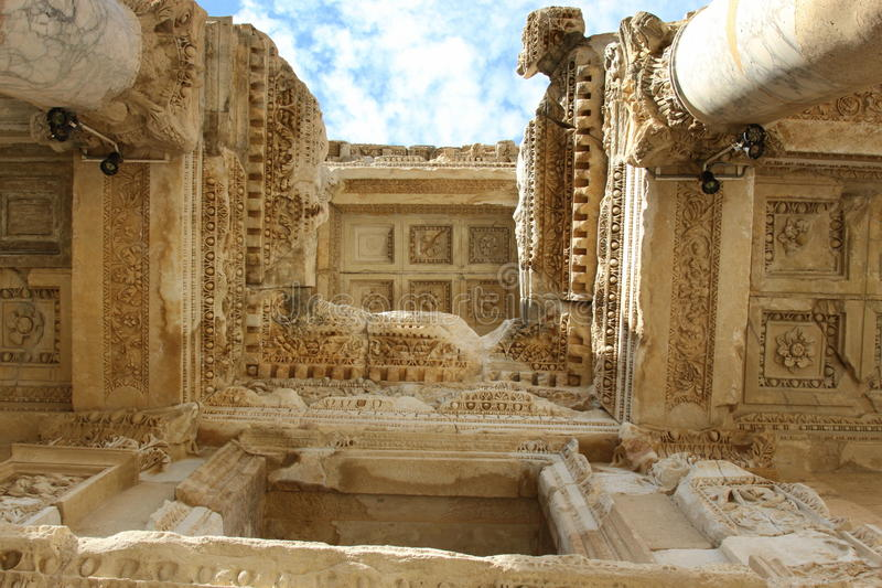 Library of Celsus stock image