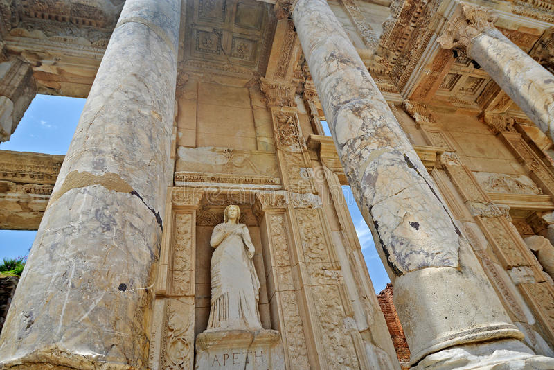 Library of Celsus in Ephesus. The library of Celsus is an ancient Roman building in Ephesus, Anatolia, now part of Turkey. These are details - sculpture of Arete royalty free stock photos