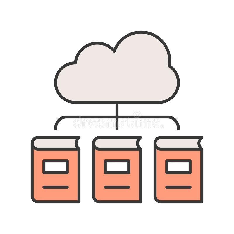 Library cloud computing concept editable stroke outline icon stock illustration