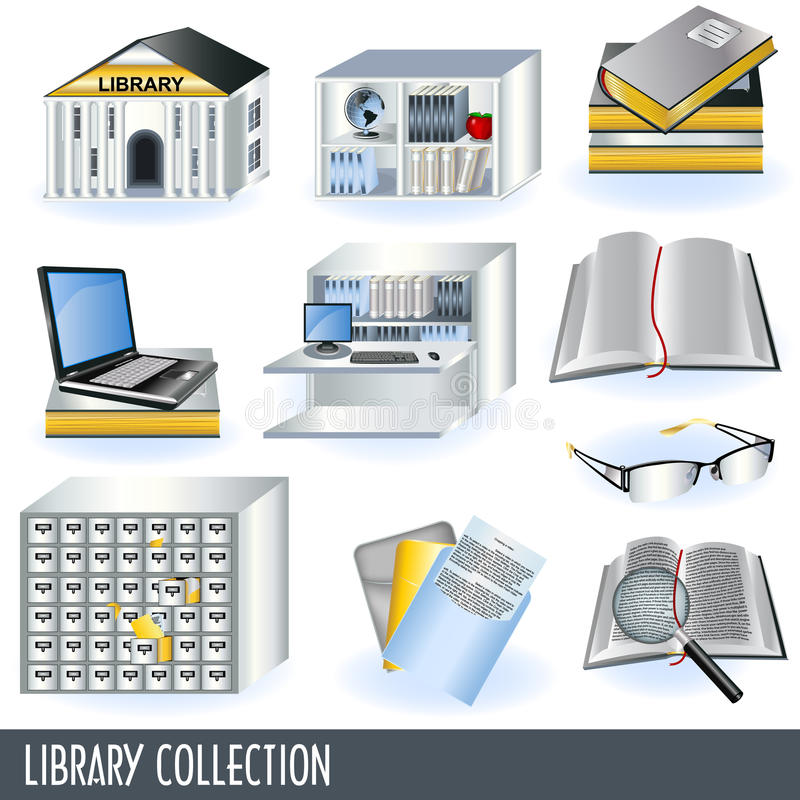 Library collection. Collection of 10 different library icon illustrations isolated on white background vector illustration