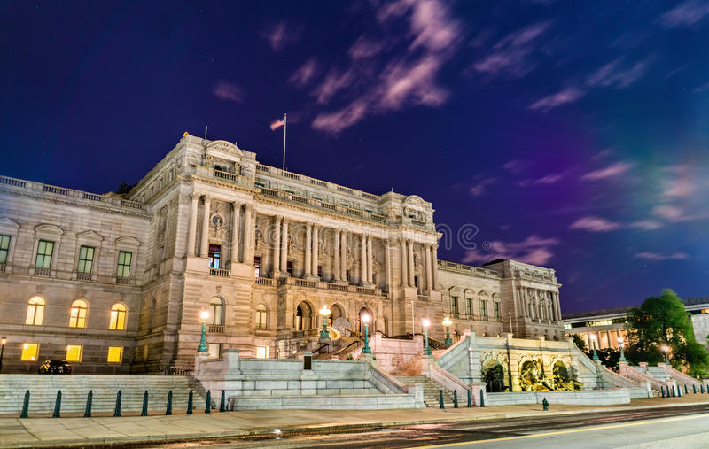 The Library of Congress building in Washington DC at night. United States royalty free stock photo