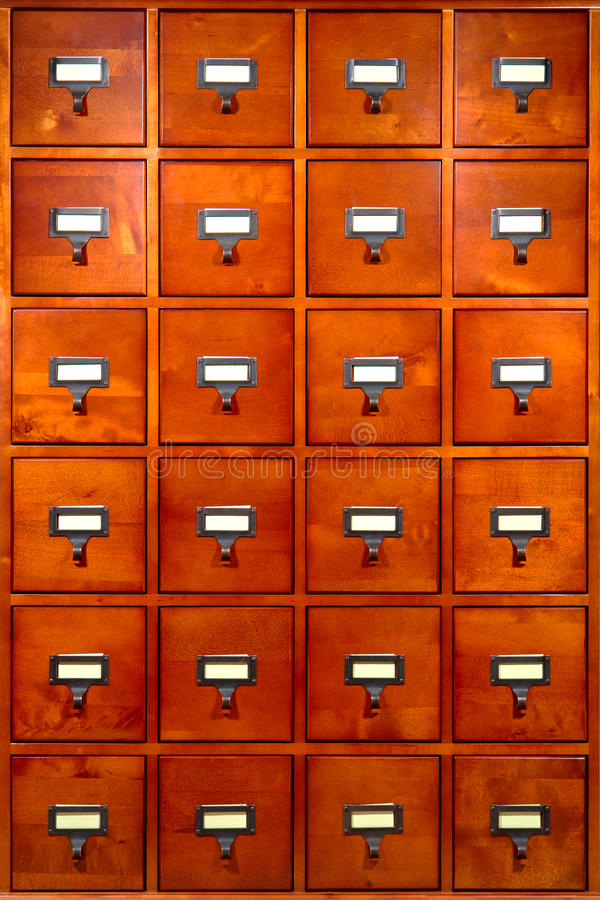 Download Library File Cabinet With Old Wood Card Drawers Stock Photo    Image Of Library,