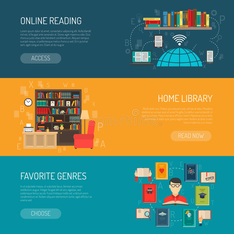 Library Flat Banners Set. Modern home online and traditional paper book shelves library 3 flat horizontal banners set vector illustration royalty free illustration