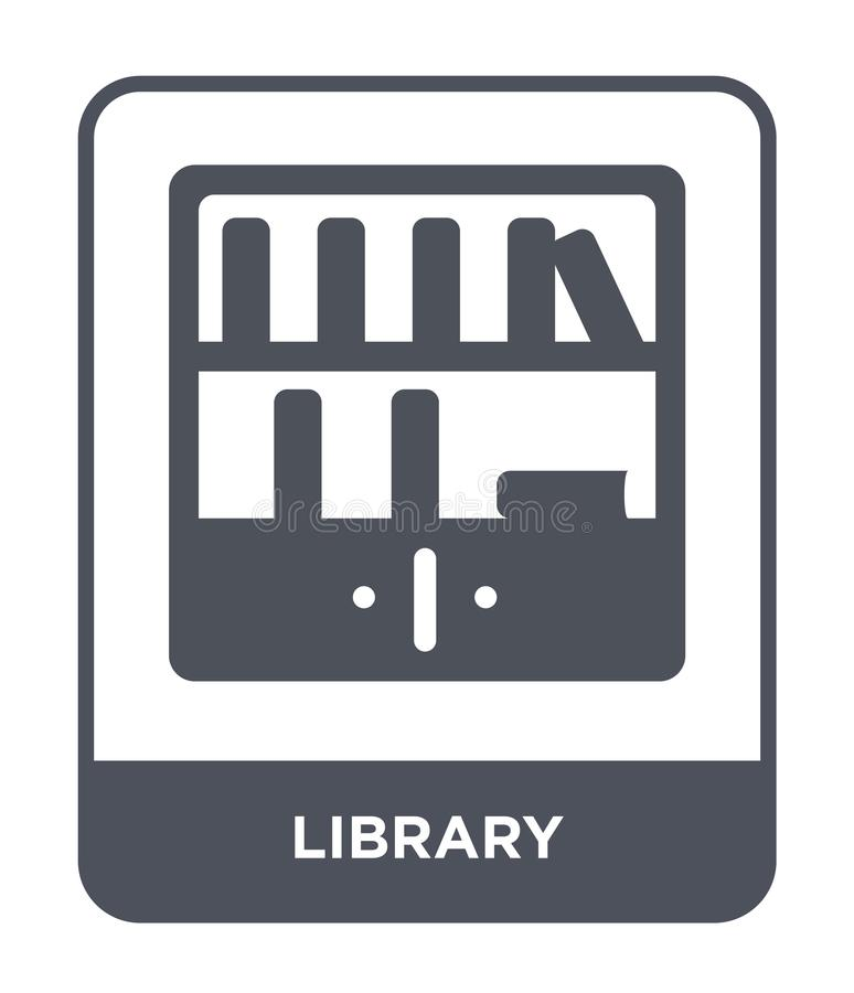 Library icon in trendy design style. library icon isolated on white background. library vector icon simple and modern flat symbol. For web site, mobile, logo stock illustration