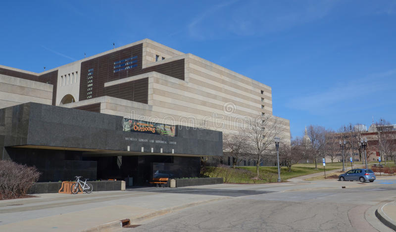 Library of Michigan in Lansing. LANSING, MI - MARCH 26: The Library of Michigan, shown on March 26, 2016, contains of the ten largest genealogical collections in stock image