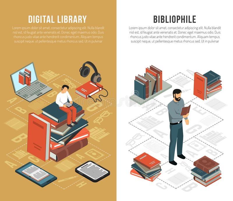 Library Network Vertical Banners. Set of two vertical isometric book reading banners with bibliophile human characters books and gadgets flowchart vector stock illustration