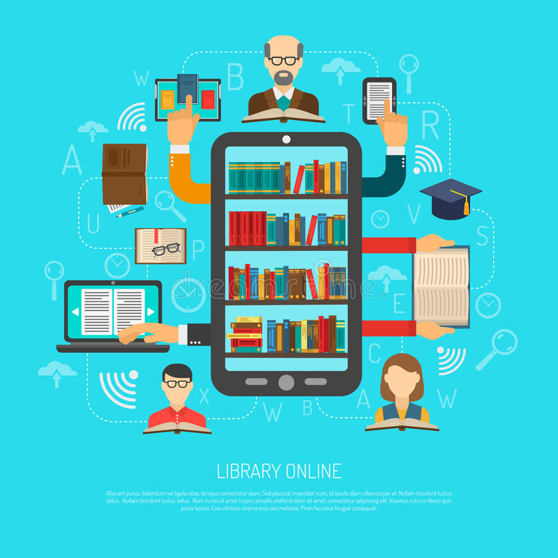 Library Online Cocept Layout Chart Print. Online library access choosing reading layout flowchart schema flat banner with electronic books and devices vector vector illustration
