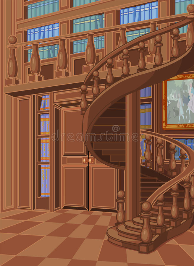 Library in Princess Palace. Wooden library in princess palace royalty free illustration