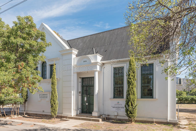 Library in Robertson to commemorate coronation of King Edward VI. ROBERTSON, SOUTH AFRICA - MARCH 26, 2017: The historic public library in Robertson, built in stock photos