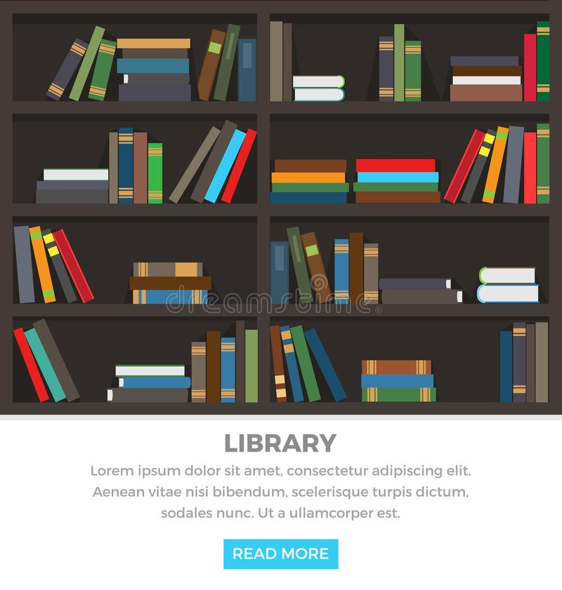 Library Shelves with Standing and Lying Books royalty free illustration