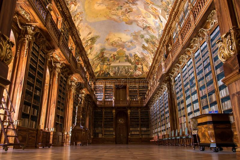 Library of Strahov Monastery in Prague, Czech Republic stock photo