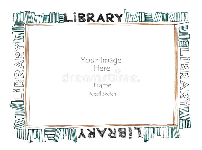 Library word alphabet picture frame freehand pencil sketch. Frame library art line have book pencil freehand sketch by my idea is no have original reference royalty free illustration