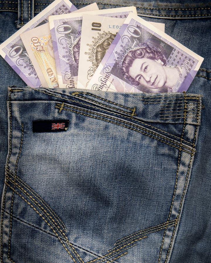 Libras do dinheiro de bolso imagens de stock