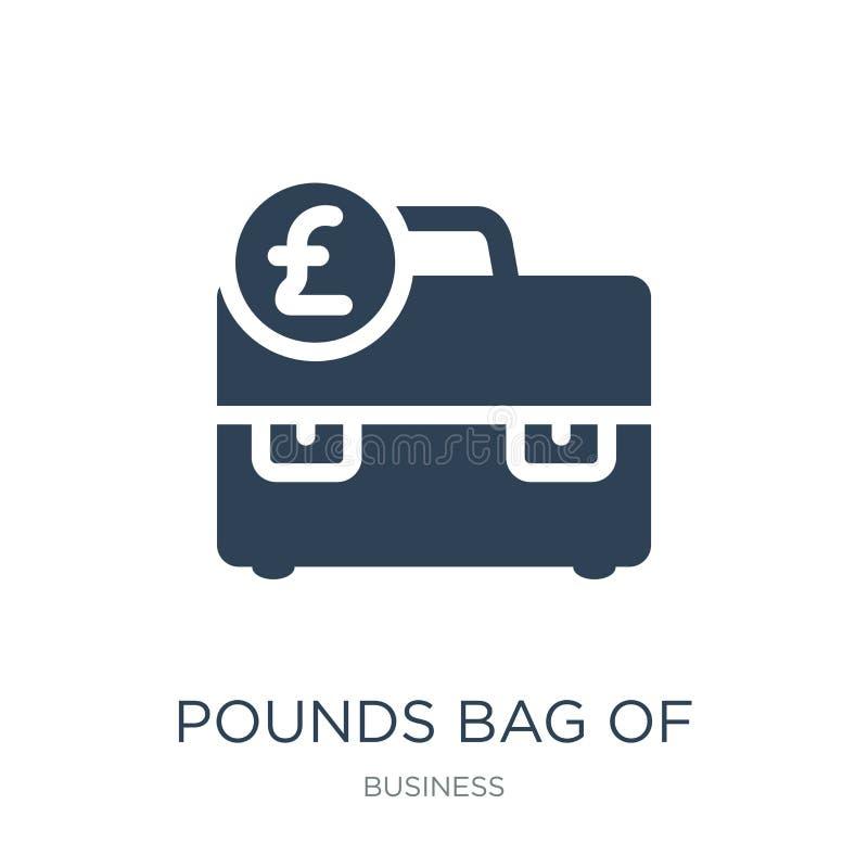 libras do saco do ícone do negócio no estilo na moda do projeto libras do saco do ícone do negócio isolado no fundo branco libras ilustração do vetor