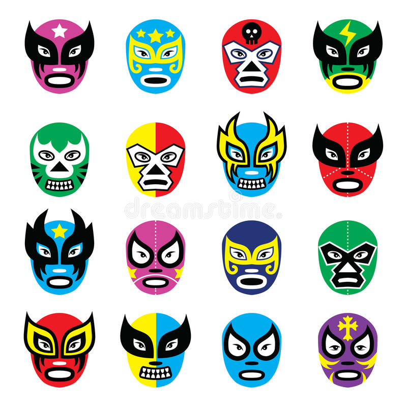 Libre Lucha, маски luchador мексиканские wrestling бесплатная иллюстрация