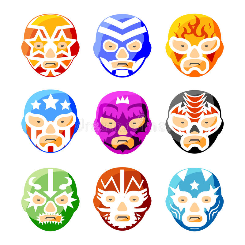 Libre Lucha, маски luchador мексиканские wrestling иллюстрация штока