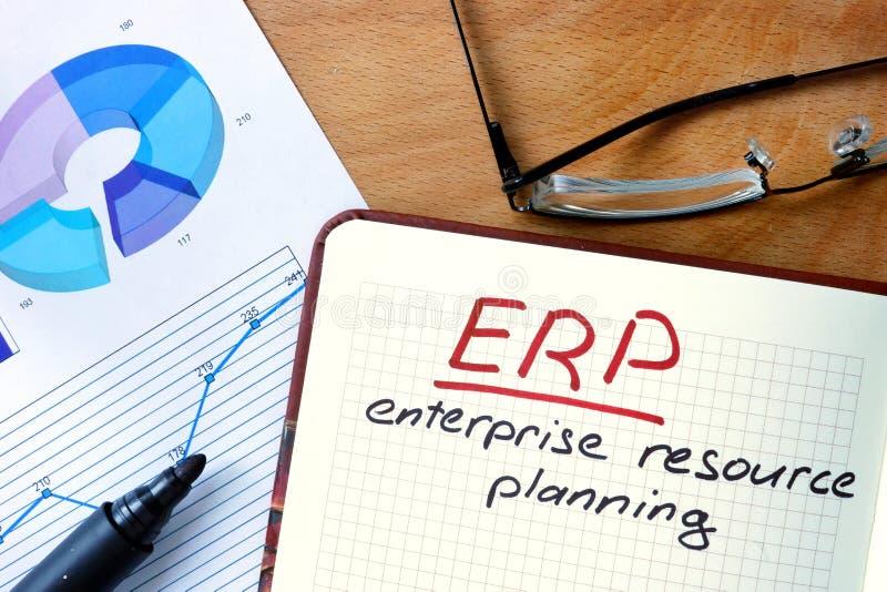 Libreta con el sistema de planeamiento del recurso de la empresa (ERP) en la tabla de la oficina fotografía de archivo libre de regalías
