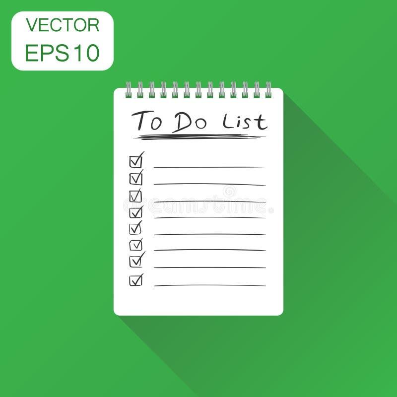 Libreta realista con el icono espiral Concepto del negocio para hacer la lista stock de ilustración