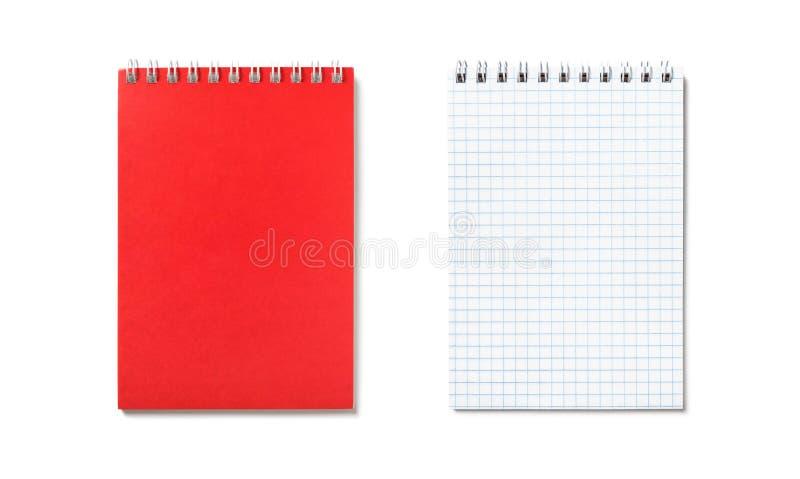 Libreta roja con la visión aislada, superior obligatoria espiral imagen de archivo libre de regalías