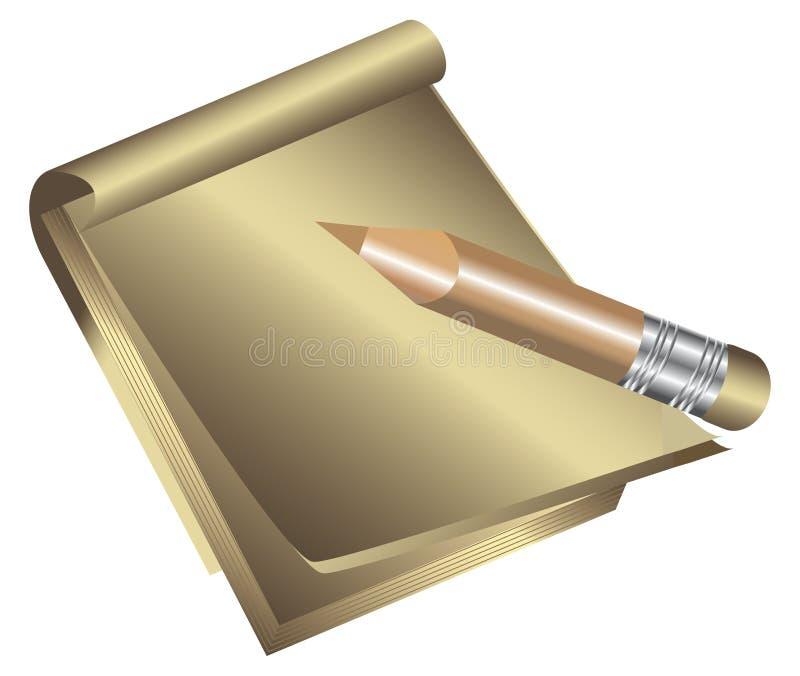 Libreta y lápiz. ilustración del vector