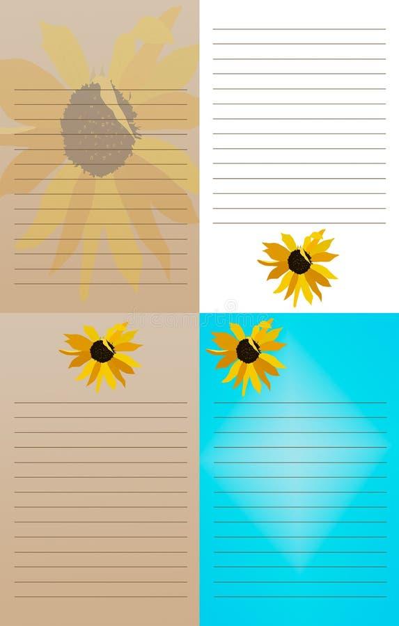 Libretas del girasol - sistema de 4 foto de archivo