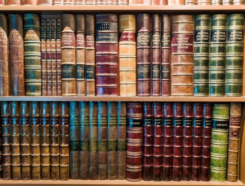 Libri d'annata sullo scaffale per libri con luce sulla cima immagini stock