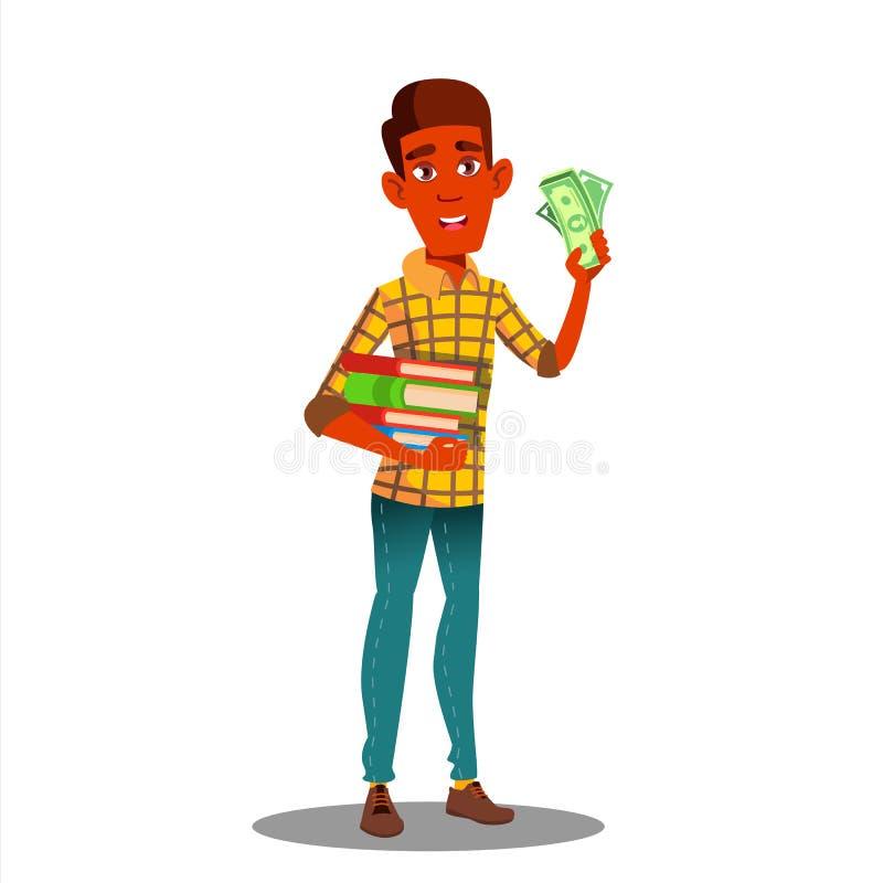 Libri di Holding Pile Of dello studente in una mano e pila di soldi nell'altro vettore Illustrazione isolata illustrazione vettoriale