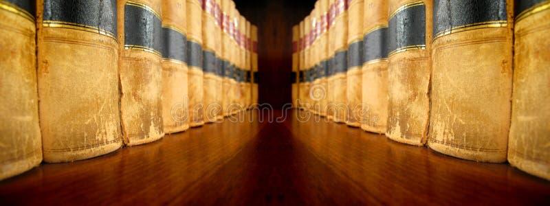 Libri di legge sugli scaffali che si affrontano fotografie stock