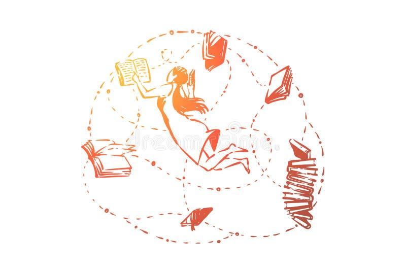 Libri di lettura astuti della ragazza, studente di college che impara, topo di biblioteca, allievo che studia, preparazione della illustrazione di stock