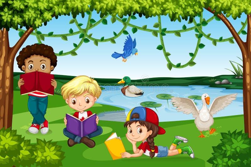 Libri di lettura dei bambini in natura illustrazione di stock