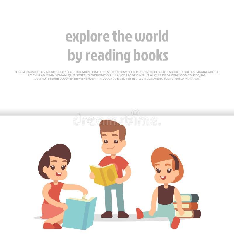 Libri di lettura dei bambini Progettazione dell'insegna di vettore del personaggio dei cartoni animati illustrazione di stock
