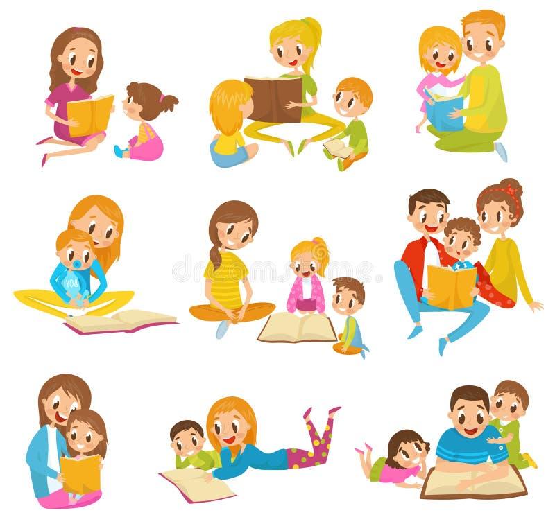 Libri di lettura dei genitori bambini hanno messo insieme le illustrazioni di vettore del fumetto su un fondo bianco illustrazione di stock