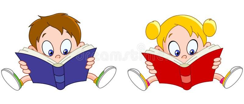 Libri di lettura della ragazza e del ragazzo illustrazione vettoriale