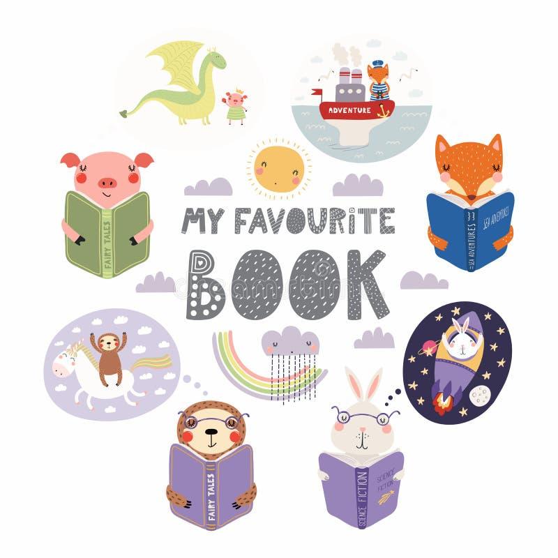 Libri di lettura svegli degli animali messi royalty illustrazione gratis