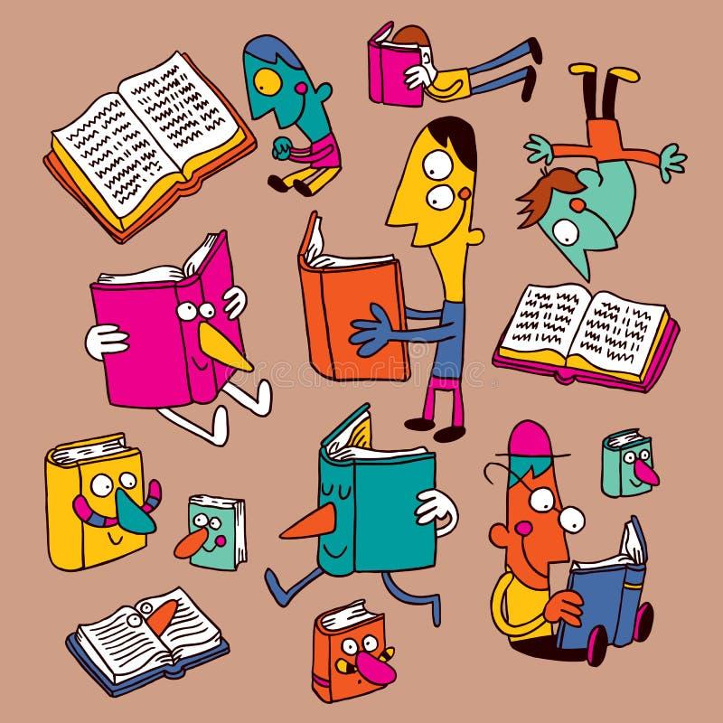 Libri e lettori illustrazione di stock