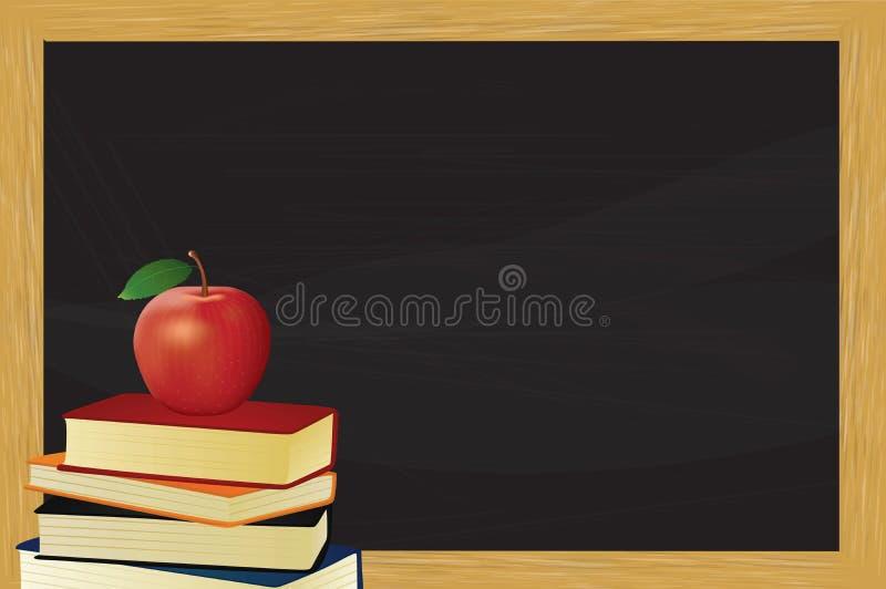 Libri e mela davanti alla lavagna illustrazione di stock