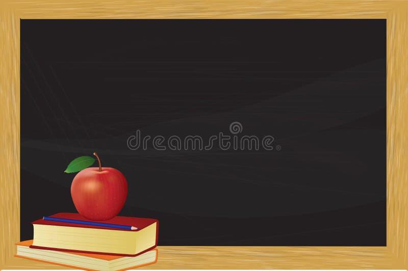 Libri e mela davanti alla lavagna illustrazione vettoriale